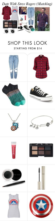 """""""Date With Steve Rogers"""" by redheadmahomiemidnightredaustin ❤ liked on Polyvore featuring Topshop, J.Crew, Converse, Marvel, Alex and Ani, Maybelline, NARS Cosmetics, Mary Kay and Giorgio Armani"""