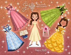 Belle paper doll with ball gowns