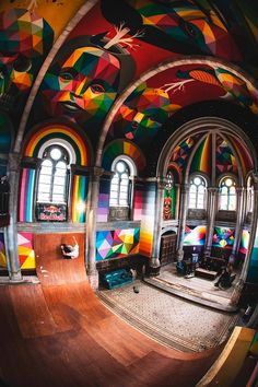 san miguel has completed a mural within an indoor skate park hidden within a spanish church.okuda san miguel has completed a mural within an indoor skate park hidden within a spanish church. Okuda, Grafiti, Old Churches, Psychedelic Art, Street Artists, Santa Barbara, Urban Art, Location, Architecture