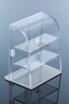 Maison de poupées Miniatures courbe acrylique Portes ouvrantes boulangerie vitrine présentoir décoration d