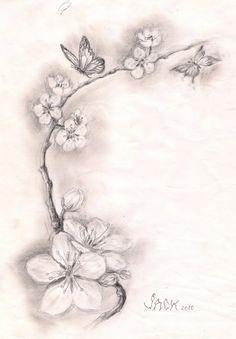 Black And White Cherry Blossom Tattoos 5 New Cherry Blossom Tattoo Designs Pretty Tattoos, Love Tattoos, Beautiful Tattoos, Black Tattoos, New Tattoos, Tattoos For Guys, Tattoos For Women, Tatoos, Celtic Tattoos