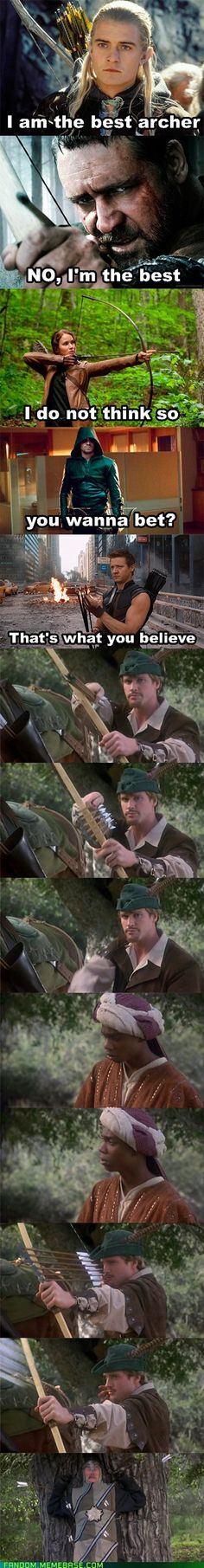 Who's the best archer? I just realized Robin Hood (Russel Crowe) said he was the best and then the other Robin Hood (I din't know the actor's name) outdid him. So Robin Hood outdid Robin Hood...I don't get that logic.