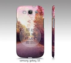 """wander phone case, Samsung S3,4,5, iphone 4, 5,6 """"Not all those who wander are lost"""",quote case,landscape,nature,Tolkien case,typography by VintageChicImages on Etsy https://www.etsy.com/listing/126622108/wander-phone-case-samsung-s345-iphone-4"""