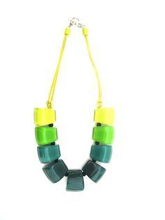 Stunning ZSISKA Melody Necklace shades of green.