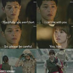 Song Joong-ki as Yoo Shi-jin and Song Hye-kyo as Kang Mo-yeon Descendants of the sun Korean Drama Funny, Korean Drama Best, Korean Drama Quotes, Best Dramas, Korean Dramas, Korean Actors, Decendants Of The Sun, Kim Book, Song Joon Ki