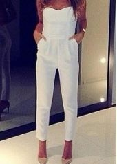 Chic Solid White Tube Pattern Ankle Length Jumpsuit