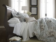 From Ethan Allen. . But its Saturday Morning...and were sleepn in... its so comfy n cozy....The classic Chloe Bed dressed in gorgeous new bed linens.