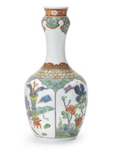 A very rare Meissen Famille verte vase, circa 1735