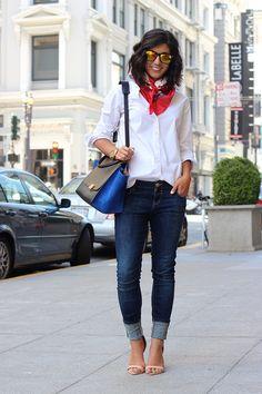 White button up. Denim. Sandals. Silk scarf.