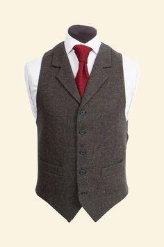Navy Shetland Donegal Tweed Edward Waistcoat - Tweed Suit Waistcoats - Clothing - Mens Walker Slater Tweed Specialists