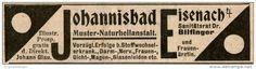 Original-Werbung/ Anzeige 1908 - JOHANNISBAD EISENACH - ca. 80 x 20 mm
