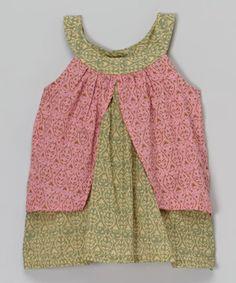 Another great find on #zulily! Yo Baby Pink & Green Geometric Yoke Dress - Infant by Yo Baby #zulilyfinds