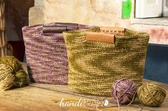 DIY Shopping Bag with Crochet Handles Kit Eco Leather