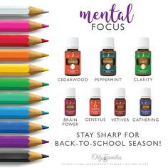 Back to School Mental Focus: Young Living essential oils for supporting concentration: cedarwood, pe Clarity Essential Oil, Essential Oils For Kids, Essential Oils Guide, Young Living Essential Oils, Brain Power Young Living, Henna Designs, Doterra, Roller Bottle Recipes, Essential Oil Diffuser Blends