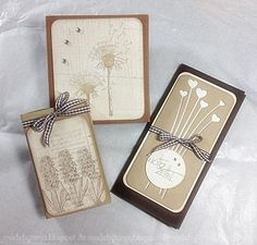 handmade cards from made by tanja ... luv the use of kraft in a monochromatic palette for botanic stamps  and stronger versions with die cuts ... like the organic look of these cards ...