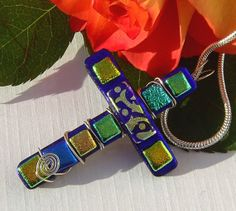 Dichroic Jewelry  Fused Glass Pendant  by TremoughGlass on Etsy, $27.00