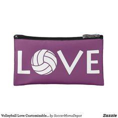 Volleyball Love Customizable Cosmetics Handbag Makeup Bag - A super cute handbag for volleyball players! #volleyball #love #player #sports #handbag