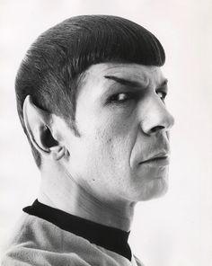 "Leonard Nimoy, in makeup as Mr Spock on ""Star Trek"" (1966-1969)."