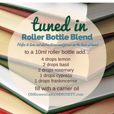 """tuned in"" roller bottle blend helps to tune out distractions and focus on the task at hand-- LOVE this! there are tons of great roller bottle blends {and FREE super cute labels} for all kinds of emotions-- calm, focus, grounding, balance, Essential Oil Perfume, Essential Oil Uses, Doterra Essential Oils, Young Living Essential Oils, Yl Oils, Roller Bottle Recipes, Printable Labels, Free Printable, Aromatherapy Oils"