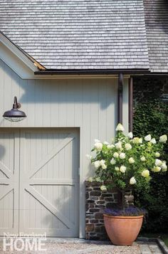 Garage, Paint Colors, Flowers, New England Exterior Colors, Exterior Paint, Exterior Design, Exterior Barn Doors, Colonial Exterior, Barn Siding, Grey Exterior, New England Homes, New Homes