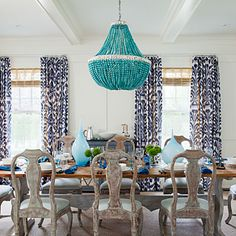 Amanda Nisbet used turquoise, indigo, and Robin's egg blue to bring this Hamptons dining room to life. | coastalliving.com