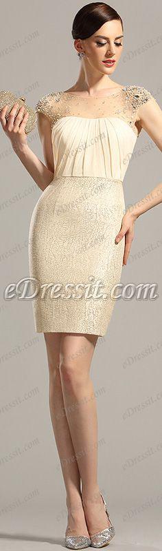 Short stylish beige dress! #edressit #dress #cocktail #fashion