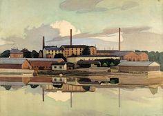 Werner von Hausen, maalaus 1900-luvun alku.  Töölön sokeritehdas.
