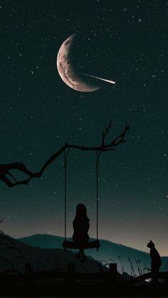 Einsam am Nachthimmel Lonely in the night sky - art - Bilder Night Sky Wallpaper, Dark Wallpaper, Cute Wallpaper Backgrounds, Pretty Wallpapers, Tumblr Wallpaper, Galaxy Wallpaper, Drawing Wallpaper, Moon And Stars Wallpaper, Wallpaper Samsung