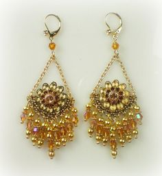 Anne Boleyn Topaz Flower Chandelier Earrings by tudorshoppe, $38.00 LOVE!! found on Etsy.com