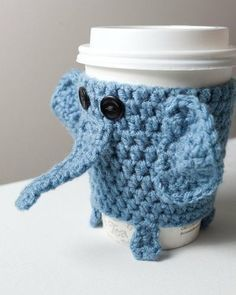 Inspiration - Crocheted Cuddly Elephant Coffee Cup Cozy by doris Crochet Coffee Cozy, Coffee Cup Cozy, Crochet Cozy, Mug Cozy, Coffee Cups, Macho Alfa, Coffee Cup Sleeves, Crochet Elephant, Crochet Kitchen