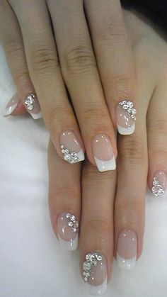 8 Exotic Nail Art Design with Glitter Rhinestones In 2019 Are you looking for a great Nail Art Glitter Rhinestones design with tutorials? You should give an eye to the collection where we have got some amazing and lovely designs. Wedding Day Nails, Wedding Nails Design, Wedding Makeup, Wedding Manicure, French Manicure Nails, French Nails, Cute Nails, Pretty Nails, Bridal Nail Art