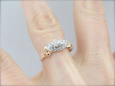 Antique Art Nouveau Rose Gold and Diamond Ring by MSJewelers