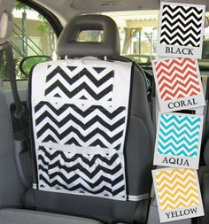 Car Organizer- Chevron Zig Zag, Black, White, Coral, Aqua, Yellow