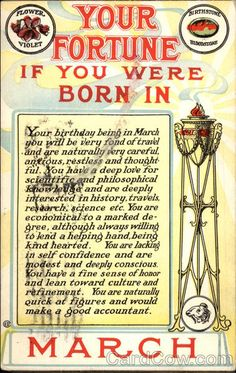 Divided Back Postcard Fortune predicted for the birth date in the month of October Astrology & Zodiac February Month, Born In February, February Born Quotes, Born In May Quotes, February Baby, July Baby, October 23, April 1st, Astrology Zodiac