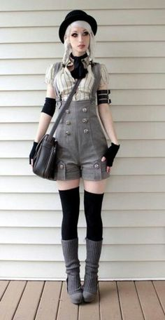 Steampunk coture; spring wear, change grey to green, and the white to gold
