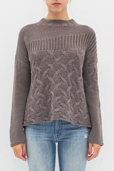 MIXED STITCH CREW SWEATER