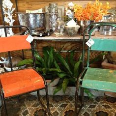 Tin chairs and bar stools available at Dunn and Sonnier