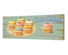 CUPCAKE MARTIN WISCOMBE wooden wall plaque retro NEW