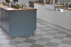 Farrow & Ball Down Pipe (grey) and Slipper Satin (off-white), with floor painted in grey and off-white checkerboard.