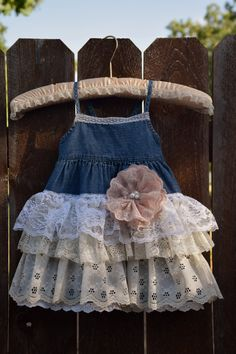 denim vintage linen and lace RUFFLE flower girl by VintageBabyLace, $45.00