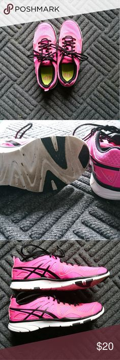ASICS tennis shoes. Athletic shoes. Hot pink with black laces. Read posh. Apparently my feet have changed after two pregnancies 🙁. I wore them once and previous seller listed them as barely worn. Listed less than what I paid. Asics Shoes Athletic Shoes
