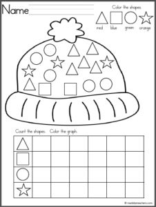 Free winter math worksheet for number recognition practice. Count the snowballs in each snowman, then cut and paste the number that matches. Find more winter math worksheets for Kindergarten and preschool by clicking on my shop.