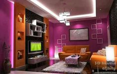 Living Room Lounge, Entrance, Porch, Flat Screen, Ceiling, Pink, Purple, Moulding, 1