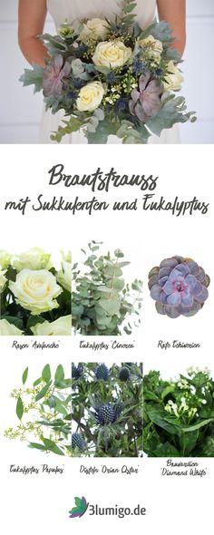 Brautstrauß mit Sukkulenten und Eukalyptus selber machen - DIY-Anleitung für einen modernen Brautstrauß in den Trendfarben Silber und Blaugrau. Binde deinen Strauß für die Hochzeit selber mit frischen Blumen von Blumigo.de!