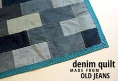 denim quilt made from old jeans -- really like the addition of the hand stitches on this