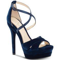 Jessica Simpson Roxelle Platform Velvet Dress Sandals (€76) ❤ liked on Polyvore featuring shoes, sandals, acai velvet, strappy dress sandals, platform sandals, velvet shoes, velvet platform shoes and velvet sandals