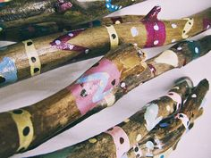 Assorted hand painted driftwood sticks set; DIY decor; custom design  Various sizes (from 6'' to 15'') and patterns in bright festive colors. May be used as vase filler, bo... #etsy #handmade #craft #aztec