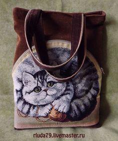 """Купить Сумка женская """"Кот-клубок"""" из гобелена - сумка женская, сумка из гобелена, гобеленовая сумка"""