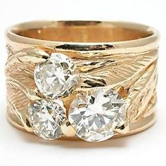 Love the wide band, but I'd replace the yellow gold with white gold.