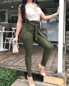 Apr shop solid pocket design pencil pants with belt right now, get Night Outfits, Classy Outfits, Sexy Outfits, Chic Outfits, Fall Outfits, Summer Outfits, Fashion Pants, Fashion Dresses, Ladies Dress Design